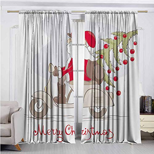 Christmas Blackout Curtains for Bedroom 2 Panels Vintage Print Santa on Motorbike with Ornamental Xmas Tree in Snow Print Set of 2 Rod Pocket Curtain Panels White Gray Red W60 x L84 Inch x2