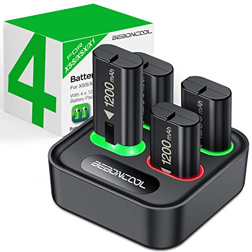 BEBONCOOL Battery Pack for Xbox One Controller/Xbox Series X/S, 1200mAh 4-Packs for Xbox One Controller Rechargeable Batteries and Dual Charger for Xbox One/One X/One Elite/One S Controllers