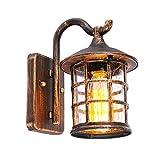 HNMXZ Antike Wandleuchte Außen Wandlampe wasserdichte, E27 Birne, Glas und Aluminium, IP44, Hof Garten Terrasse Flur Vintage Wandbeleuchtung (Color : Brown)