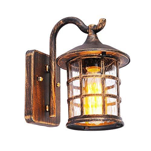 SUZNIU Antike Wandleuchte Außen Wandlampe wasserdichte, E27 Birne, Glas und Aluminium, IP44, Hof Garten Terrasse Flur Vintage Wandbeleuchtung (Color : Brown)