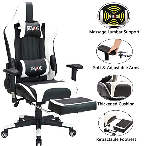 Remaxe Office Chair Large Size Computer Gaming Chair Ergomonic Racing Chair with Retractable Footrest,Execultive PU Leather Headrest Lumbar Massager Cushion Ergonomic Swivel PC Chair for Home,Black/&Blue