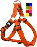 DDOXX Arnés Perro Step-In Nylon, Ajustable | Muchos Colores & Tamaños | para Perros Pequeño, Mediano y Grande | Accesorios Gato Cachorro | Naranja, M