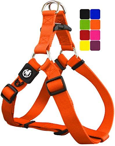 DDOXX Arnés Perro Step-In Nylon, Ajustable | Muchos Colores & Tamaños | para Perros Pequeño, Mediano y Grande | Accesorios Gato Cachorro | Naranja, XXS