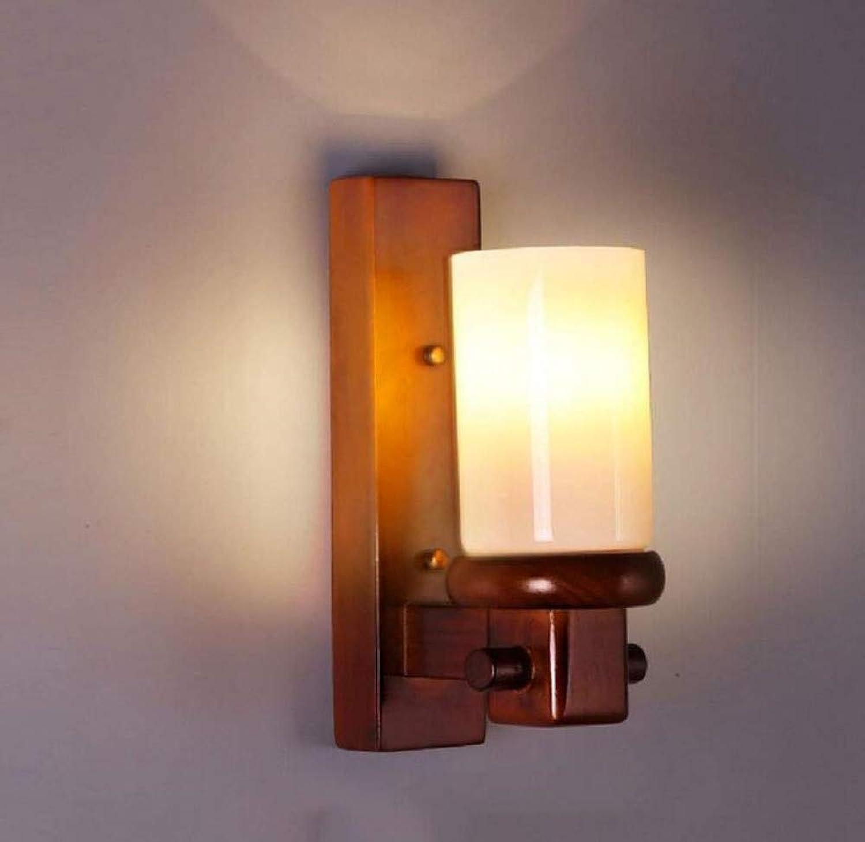 Vintage Kronleuchter Wandleuchte Massivholz Glas Wandleuchte Einfache Wohnzimmer Wandleuchte Kreative Lichter Ganglampen Schlafzimmer Nachttischlampe