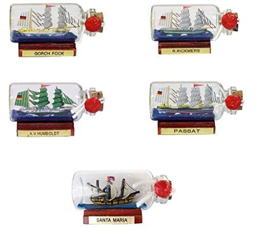 magicaldeco Flaschenschiff- 5er Set kleine Buddelschiffe-Gorch Fock, Humboldt, Passat, Santa Maria und Rickmers