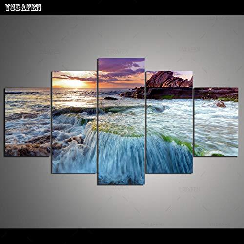 HTBYTXZ 5 Piezas de Lienzo Pared Arte Marino Pintura Lienzo Sala de Estar Pared módulo Pintura Mural Arte 265 30x40 30x60 30x80cm sin Marco