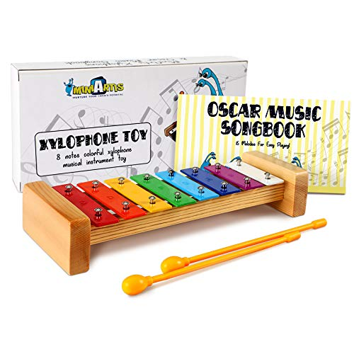 MiniArtis Xylophone for Kids | 8 Notes Diatonic Colorful Metal Bars | Wooden Musical Instrument Toy | Music Songbook & Child Safe Mallets Included | Great Holiday Birthday Gift for Children