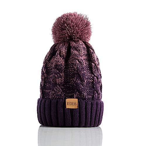 REDESS Women Winter Pom Pom Beanie Hat with Warm Fleece Lined, Thick...