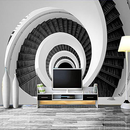 DZBHSCL 4D Behang muurschilderingen, modern creatief zwart en wit Swirl trap groot kunstdruk fotobehang poster voor thuis woonkamer bank Tv achtergrond veranda slaapkamer muur decoratie 80in×120in 200cm(H)×300cm(W)