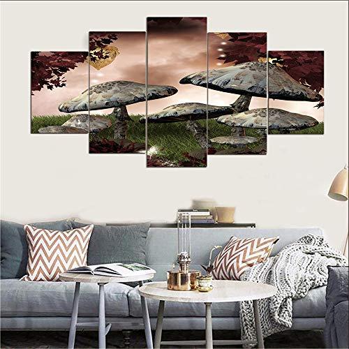 WGSJA Kunstdruk op canvas, niet geweven, voor eettafel, schilderen, wanddecoratie, foto, paddenstoel, muurstickers en wanddecoratie, accessoires voor thuis tijdgenoot S B