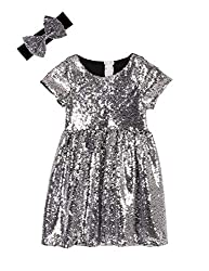 Silver Black Toddlers Sequin Dress