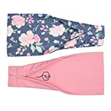 Maven Thread Women's Headband Yoga Running Exercise Sports Workout Athletic Gym Wide Sweat Wicking Stretchy No Slip 2 Pack Set Pink and Navy Floral Energy