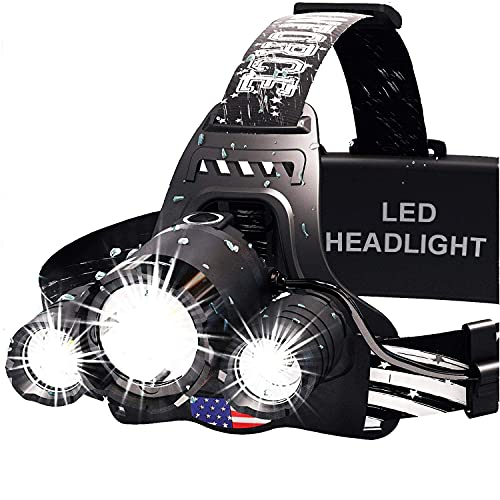 DanForce Headlamp. USB Rechargeable LED Head Lamp. Ultra Bright CREE 1080 Lumen Headlamp Flashlight + Red Light. HeadLamps for Adults, Camping, Outdoors & Hard Hat Light. Zoomable IPX54 Headlight