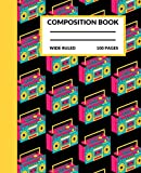 boombox stereo composition notebook: boombox composition notebook wide ruled for kids, adults and music lovers, cassette stereo composition book, 100 pages 7.5 x 9.25