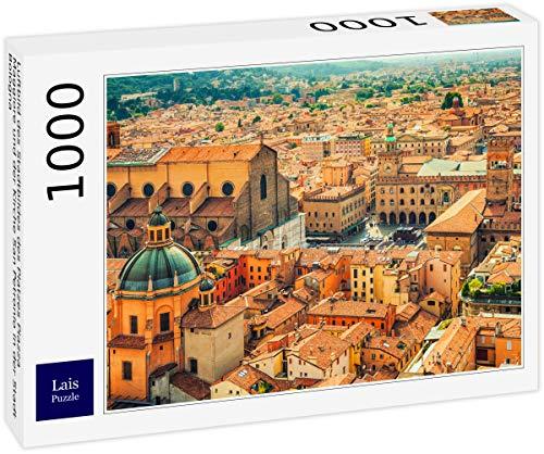 Lais Puzzle Luftbild des Stadtbildes des Platzes Piazza Maggiore und der Kirche San Petronio in der Stadt Bologna 1000 Teile