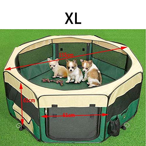 ZDJR Portable Pet Playpen,Multiple Sizes and Colors Available for Dogs, Cats and Other Pets,The Best Indoor and Outdoor Pen. with Carry Bag,Pink,XL