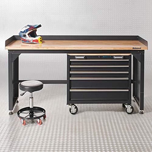 Datona Werkbank mit Arbeitsplatte aus Bambus + Werkzeugwagen mit 5 Schubladen - 200 cm