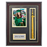 GraduationMall Class of 2020 Graduation Photo Frame Display 4x6 Picture with Black Gold Double Mat,Real Glass,Tassel Holder,Wall & Tabletop Design