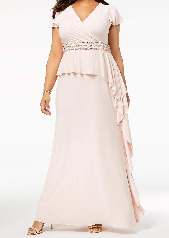 Adrianna Papell Womens Plus Flutter Sleeves FullLength Evening Dress