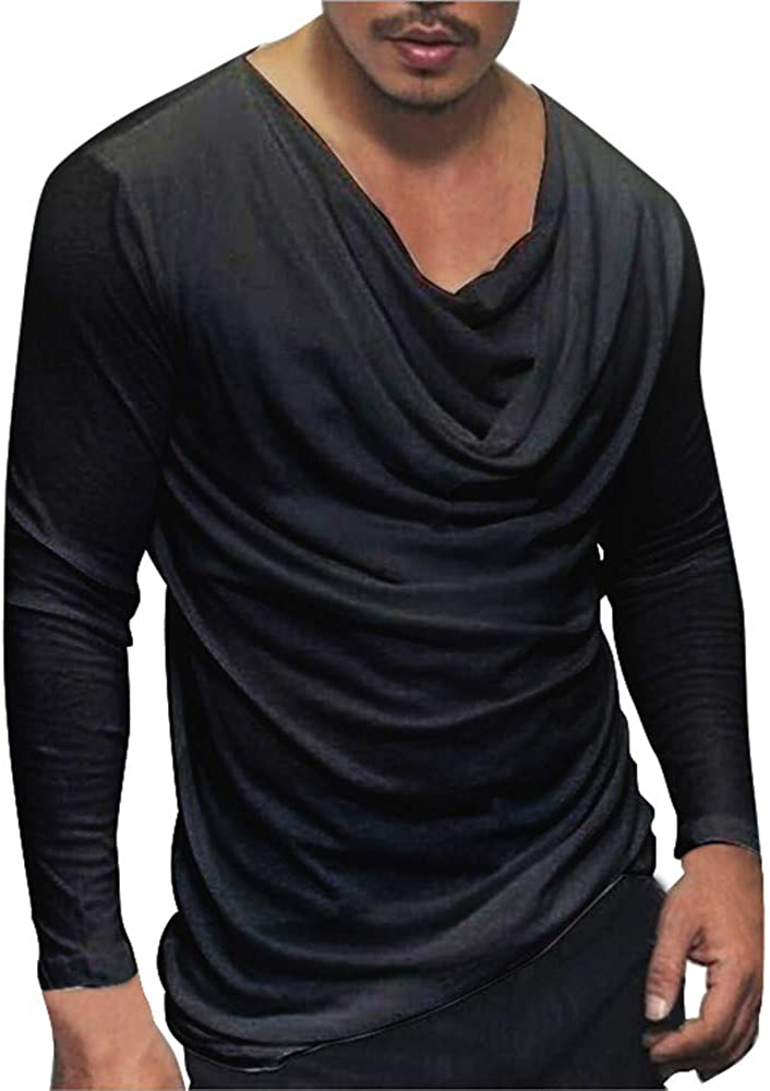 F_Gotal Men's Pullover, Fashion Solid Color Casual T-Shirt Autumn Long Sleeve Fitted Sports Blouse Top