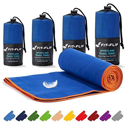 Fit-Flip Reisehandtuch Set – 16 Farben, viele Größen – Ultra leicht & kompakt – das perfekte Fitness Handtuch, Strandliegenhandtuch und Trekking Handtuch (100x200cm, Dunkelblau - Orange)