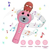 Updated 2020 Version Unique Design Wireless Bluetooth Kids Karaoke Microphone, Handheld Microphone, Magic Voice Changer, and Flashing Multicolored LED Lights(Pink)