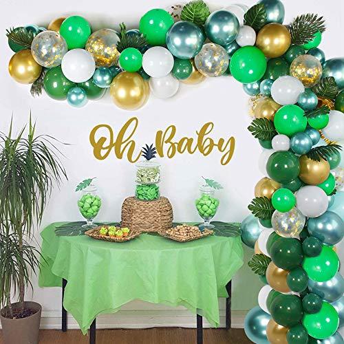 Selva Cumpleaños Decoracion Kit de Guirnalda de Globos Arch, 114 Piezas Birthday Supply Feliz Cumpleaños con Globo Verde con Hojas de Palma, Safari Bosque Globos para Niño Cumpleaños Decoración