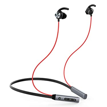 Bluetooth 5.0 Earphones with Heart Rate Monitor, 18H Playtime Sports Earbuds for Gym Running w/Mic HD Stereo Sweatproof in-Ear Earbuds, Best Wireless Headphones with Shark Fin Anti-Fall Earmuffs