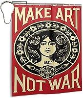 アートを戦争ではないシャワーカーテン、バスルームのカーテンの装飾のためのバスルームポリエステル防水ファブリックバスタブセットフック付き60 X72インチ-鉄-66x72インチ