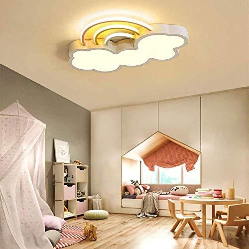 Techo de la sala de techo LED de luz de la lámpara niños, Moderno acrílico nubes arco iris Diseño regulable Lámpara con mando a distancia, niño y niña Iluminación en la alcoba de techo, azul,