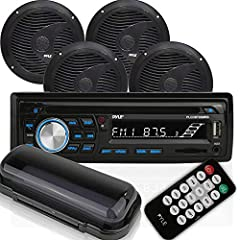 "UPDATED FEATURES: This audio stereo kit is unlike others. It comes w/ a Bluetooth marine receiver, 4 pieces 6.5"" waterproof speakers, a remote control & a radio shield. Has a CD player & slots for MP3/USB/SD reading. It can also use AM/FM radio WATER..."