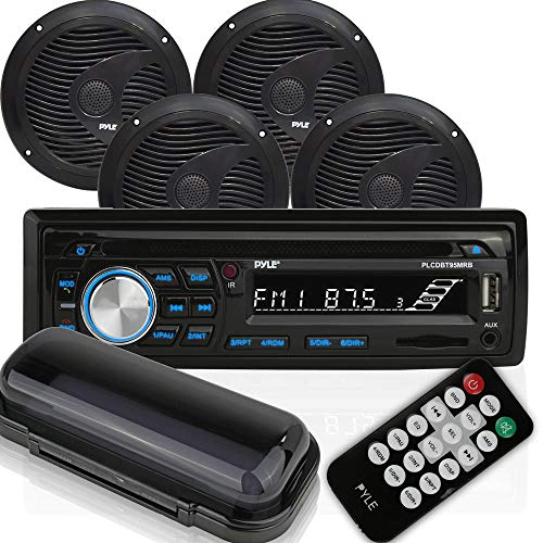 Pyle PLCDBT95MRB Single DIN Marine Bluetooth Receiver Stereo System and CD Player with 2 Pairs 6.5 Inch Waterproof Speakers and Remote Control, Black