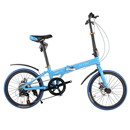 Best Price! Ssltdm Kids' Bikes 16 inch Aluminum Alloy Folding Bike 7-Speed disc Brake Folding Bike C...