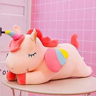 Angel Unicorn Doll Rainbow Pony Plush Toys Send Girls Birthday Gifts Y-028 (50cm,Pink)