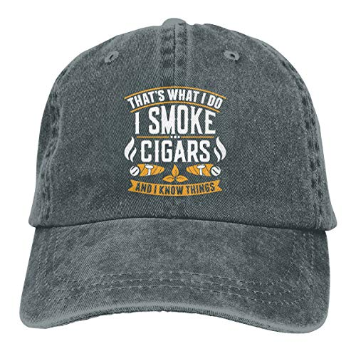 Trucker Cap That's What I Do I Smoke Cigars and I Know Things Durable Baseball Cap,Adjustable Dad Hat Deep Heather