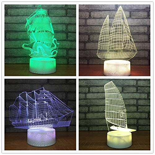 Sailing Sea Boat Ship 3D LED Night Light USB Table Lamp Kids Birthday Gift Bedside Home Decoration