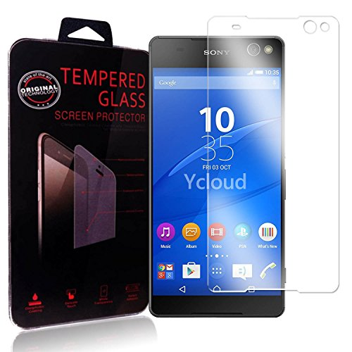 Ycloud Panzerglas Folie Schutzfolie Bildschirmschutzfolie für Sony Xperia C5 Ultra (6 Zoll) screen protector mit Festigkeitgrad 9H, 0,26mm Ultra-Dünn, Abger&ete Kanten