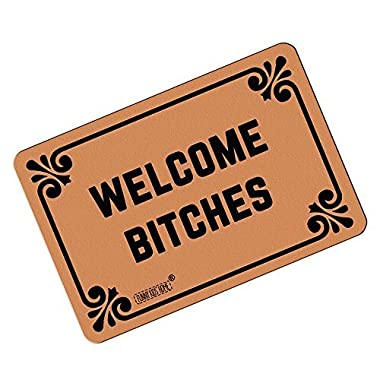 FUNNY KIDS' HOME Welcome Bitches - Funny Doormats Personalized Durable Machine-washable Indoor/outdoor Door Mat 23.6 (L) x 15.7 (W) Inch