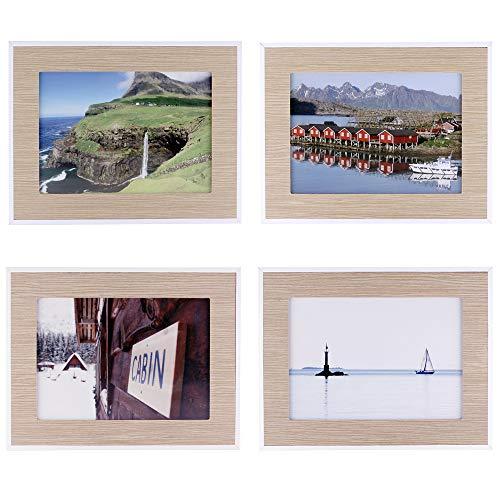 Quubik Design Marco de Fotos en Estilo escandinavo Natural - Juego de 4 Marcos de Fotos tamaño 13x18cm Disponibles