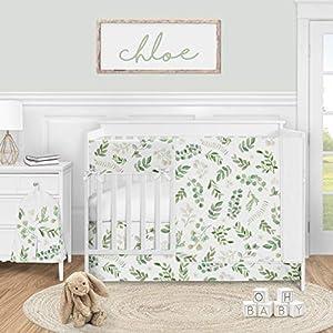 Sweet Jojo Designs Floral Leaf Baby Girl Nursery Crib Bedding Set – 5 Pieces – Green and White Boho Watercolor Botanical Woodland Tropical Garden