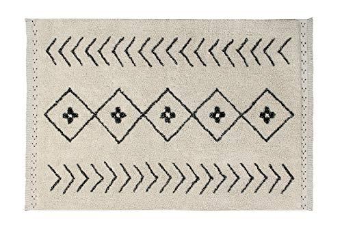 Lorena Canals-Abwaschbarer Teppich BEREBER RHOMBS in der Farbe Natur/Schwarz. Handgefertigt in rechteckiger Form und mit natürlichem Baumwoll-Kurzflor und ungiftigen Farbstoffen-Größe:210x140cm