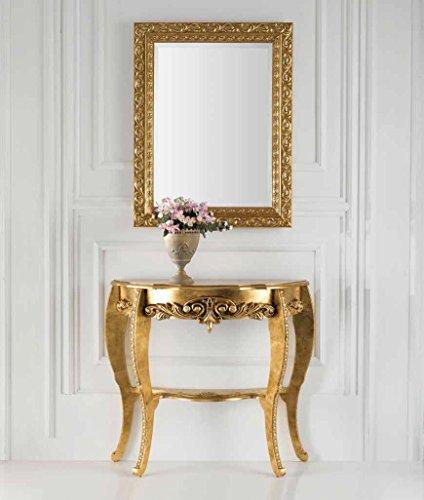 Mocada Consolle + Specchiera Stile Barocco a Foglia Oro o Panna/Oro da Ingresso (Oro)