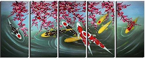 【開運絵画】 芸術家 手書き 赤【 ?? 梅桜 】 油彩画 絵画 横30cm x 縦50cm x 5枚【壁掛けフック付き】 【梱包はダンボールに包まれていています】, 5 パネル 油絵 壁掛け 梅桜 絵 芸術家 自然画 和風 風景画 キャンバス 壁キャンバ