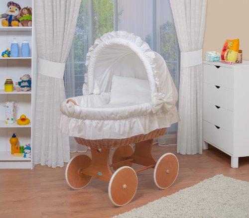 WALDIN Baby Stubenwagen-Set mit Ausstattung,XXL,Bollerwagen,komplett,6 Modelle wählbar,Gestell/Räder lackiert,Stoffe weiß