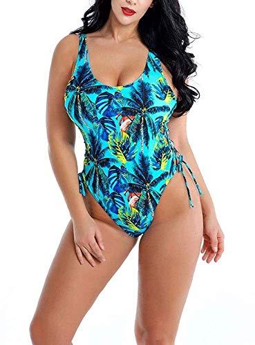 Bbhhyy Frauen One-Piece-Badeanzug, Plus Size Tropische Pflanzen Muster Badeanzug Strand Parteien Pool Parties Swimwear (Color : Green, Size : 2XL)