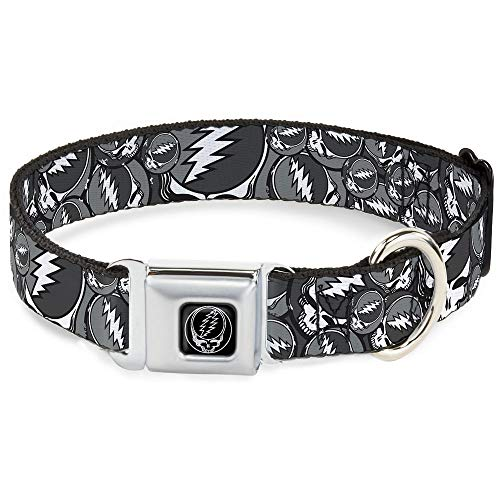 Buckle-Down Seatbelt Buckle Dog Collar - Steal Your Face Stacked Gray - 1' Wide - Fits 15-26' Neck - Large