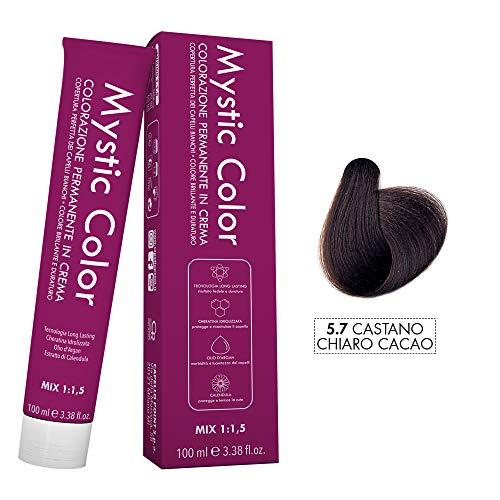 Mystic Color - Coloración Permanente en Crema con Aceite de Argán y Caléndula - Tinte de Larga Duración - Color Marrón Cacao Claro 5.7 - 100ml