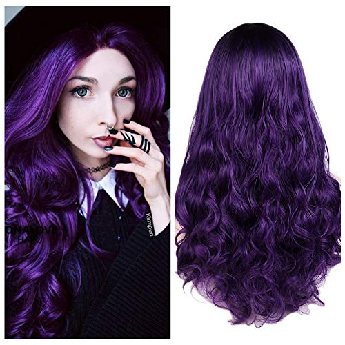 Quantum Love Wigs Ombre Wig Black to Violet Middle Part Long Curly Wig Heat Resistant Synthetic Daily Party Wig for Women