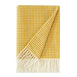 PHF Acrylic Waffle Weave Knit Throw Blanket 50 x 60 inches, Lightweight Soft Cozy Decorative Woven Blanket with Tassels for Couch, Bed, Sofa, Chair, Home Travel, Suitable for All Seasons, Ginger