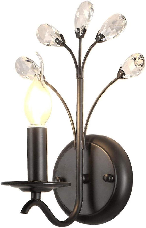 Genuss LED Schwarz Kristall Wandleuchte Gang Korridor Esszimmer Wohnzimmer Schlafzimmer Arbeitszimmer Treppe Balkon Warmes Gelbes Licht Modern Einfach Luxus Luxus